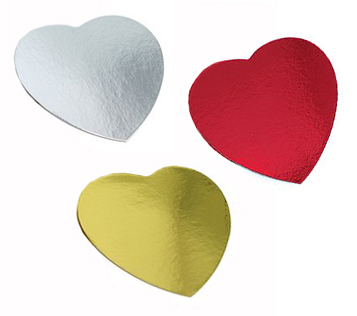 FOIL CARDBOARD CUTOUT HEARTS - SIZE 8CM PACK OF 12