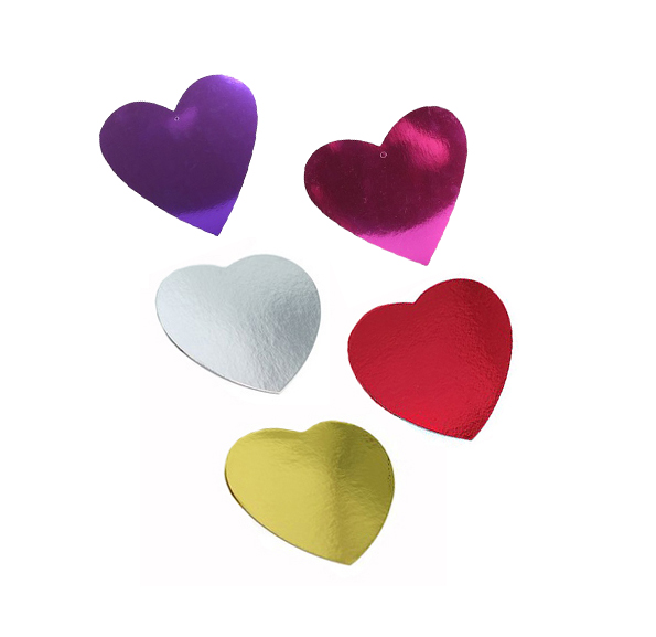 FOIL CARDBOARD CUTOUT HEARTS - SIZE 10CM PACK OF 12