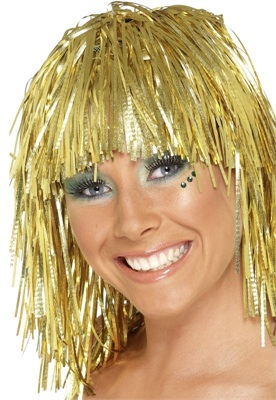 TINSEL WIG - GOLD