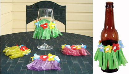 HAWAIIAN GRASS SKIRT FOR GLASSES OR BOTTLES - PACK 4