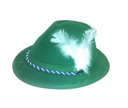 ALPINE MALE HAT - GREEN FLOCKED WITH WHITE FEATHER