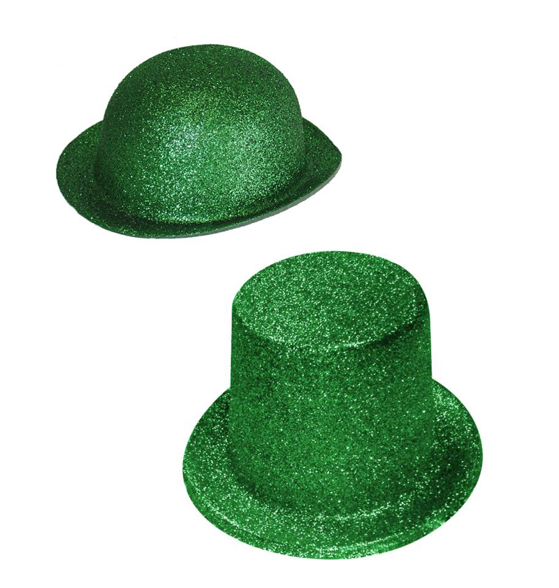 ST PATRICKS DAY GREEN GLITTER BOWLER OR TOP HAT