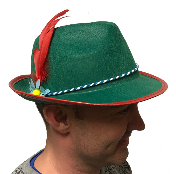 ALPINE HAT GREEN FELTEX WITH FLOWER & RED FEATHER