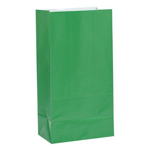 PAPER LOOT BAGS - GREEN - PACK OF 12