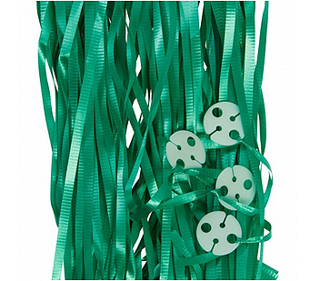 RIBBONS PRE CUT METALLIC GREEN PK 25 WITH CLIPS