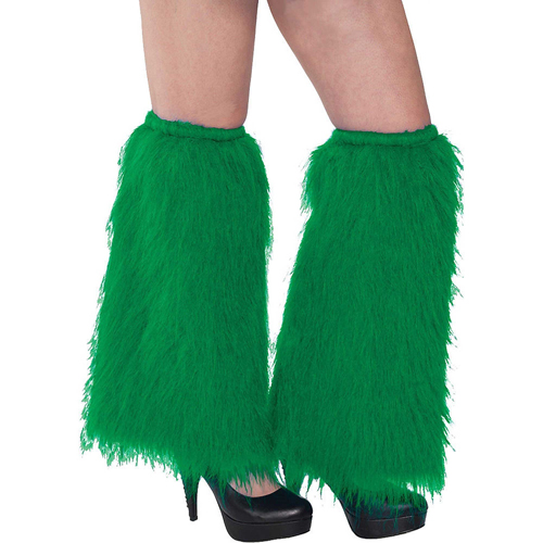 1980'S PLUSH & FLUFFY GREEN LEG WARMERS