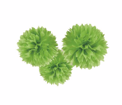 POM POM FLUFFY TISSUE DECORATION - LIME GREEN IN A PACK OF 3