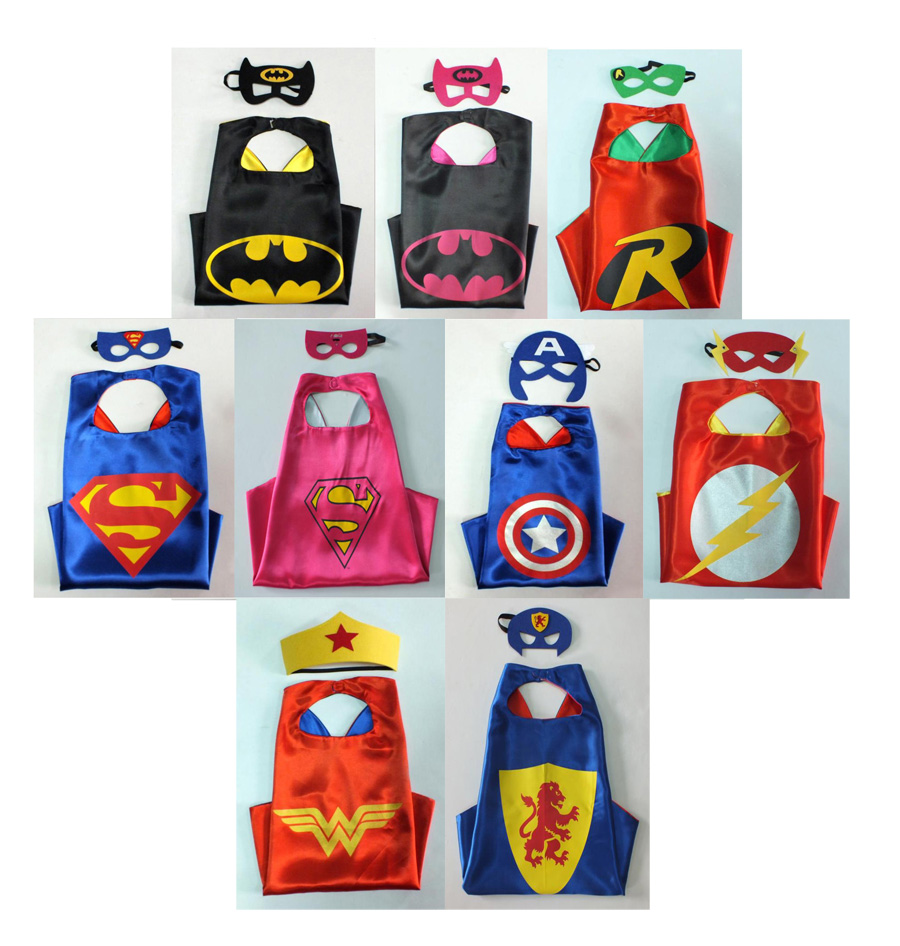 SUPER HERO CAPE & MASK - TO FIT ADULT OR CHILD - 9 CHOICES