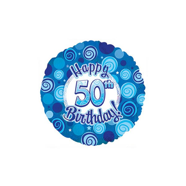 FOIL BALLOON - 50TH BIRTHDAY BLUE SPARKLE