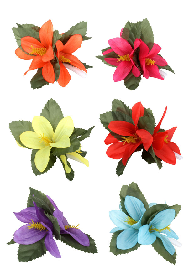 HAWAIIAN TROPICAL FLOWER HAIR CLIP - HOT PINK O/S