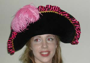 FASHIONISTA LADIES PIRATE HAT PINK & BLACK