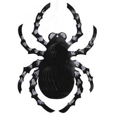 BLACK GLITTERED HONEYCOMB SPIDER CUT OUT