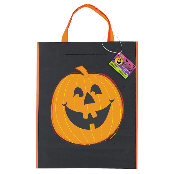 HALLOWEEN BLACK TRICK OR TREAT BAG WITH SMILING PUMPKIN