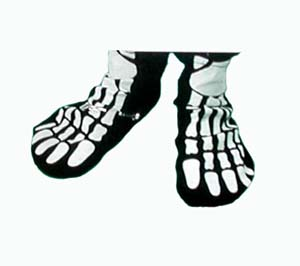 BLACK CLOTH SKELETON FOOT COVERS
