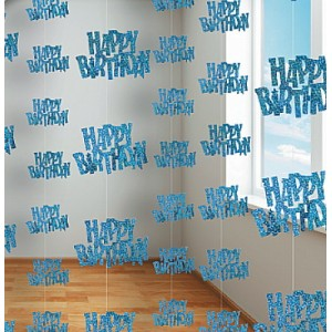 GLITZ BLUE GLITTERED HAPPY BIRTHDAY STRING DECORATIONS