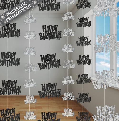 GLITZ SILVER & BLACK GLITTERED HAPPY BIRTHDAY STRING DECORATIONS
