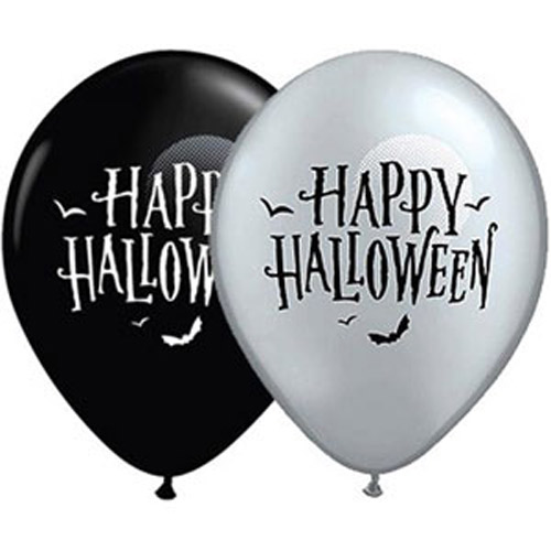 BALLOONS LATEX - BLACK & SILVER HALLOWEEN MOON & BATS PACK 6