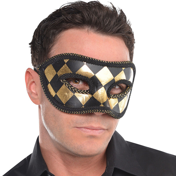 MASK - HARLEQUIN BLACK & GOLD