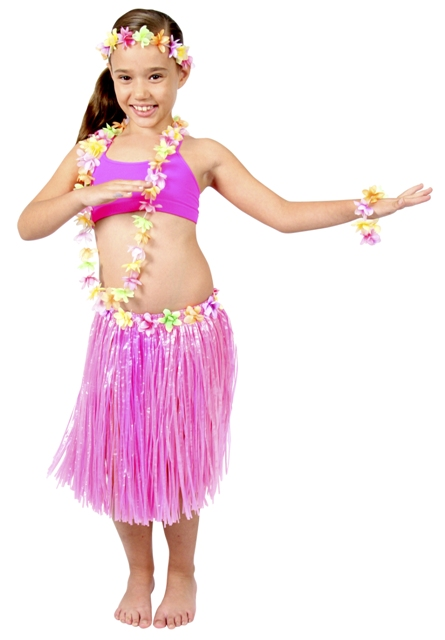 HAWAIIAN HULA SKIRT, LEI & ACCESSORY SET FOR CHILDREN