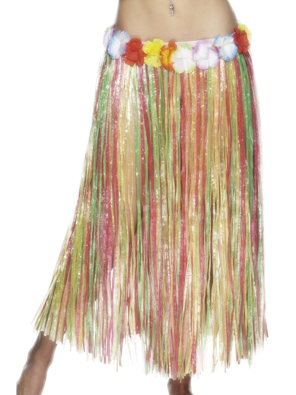 HAWAIIAN HULA MULTI SKIRT WITH FLOWERED WAIST PACK OF 12 SPECIAL