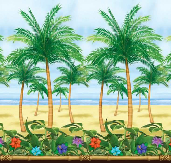 SCENE SETTER - HAWAIIAN BEAUTIFUL TROPICAL BEACH & PALM SCENE