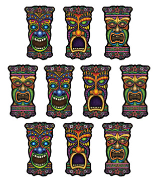 TIKI MINI CUT OUTS - PACK OF 10