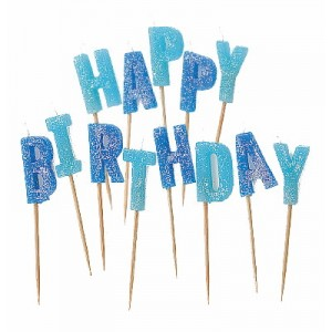 GLITZ BLUE HAPPY BIRTHDAY CANDLES