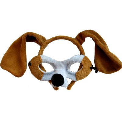 HEADBAND & MASK SET - BROWN & WHITE DOG