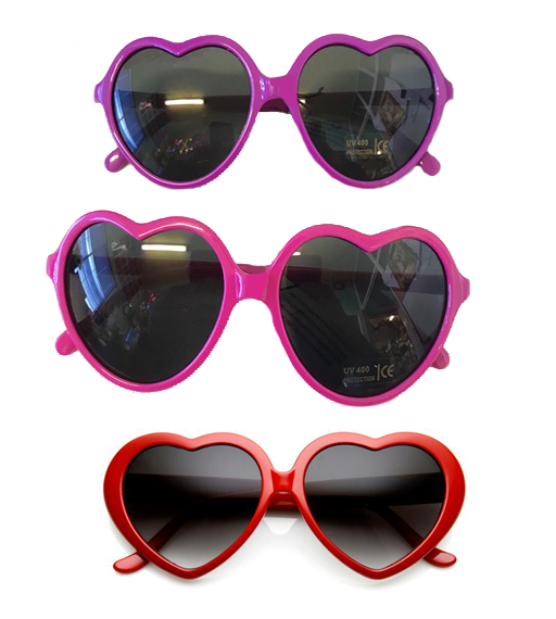 LOLITA HEART SHAPED GLASSES - PINK, PURPLE OR RED