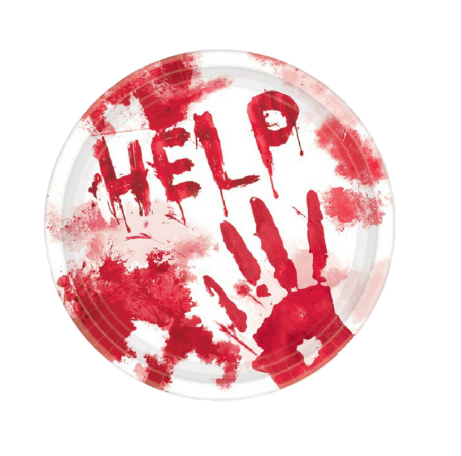 BLOOD STAINED HANDS WITH 'HELP' SCRIPT LUNCH PLATES - PACK OF 18