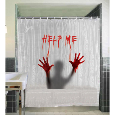 BLOODY SHOWER CURTAIN - CREEPY SILHOUETTE WITH HELP ME SCRIPT