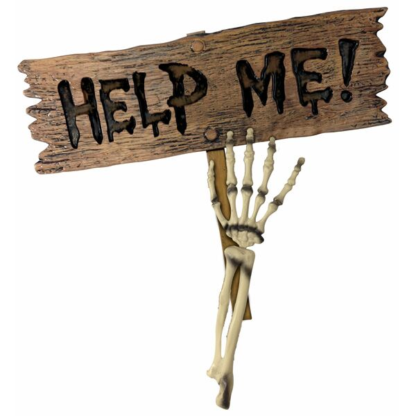 SKELETON HAND STAKE HOLDING 'HELP ME' SIGN