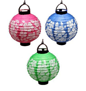 HIBISCUS FLOWER LED LANTERNS SET OF 3