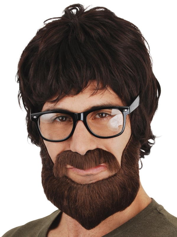 Image of Hipster Brown Moustache & Beard Set