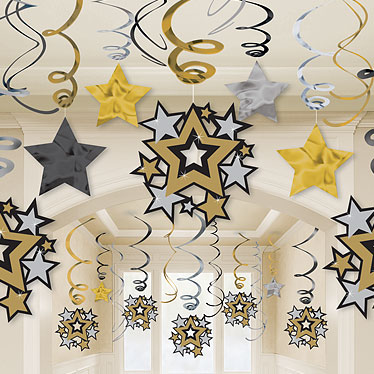 HOLLYWOOD SWIRLS & STARS DECORATIONS - VALUE PACK OF 30