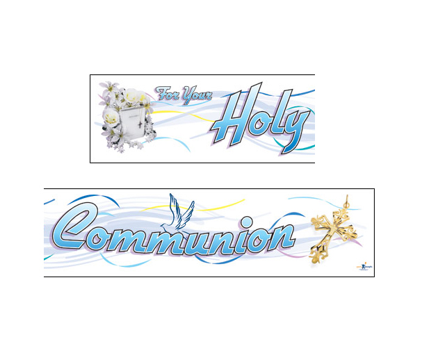 GIANT BANNER - CONGRATULATIONS ON YOUR HOLY COMMUNION - BLUE