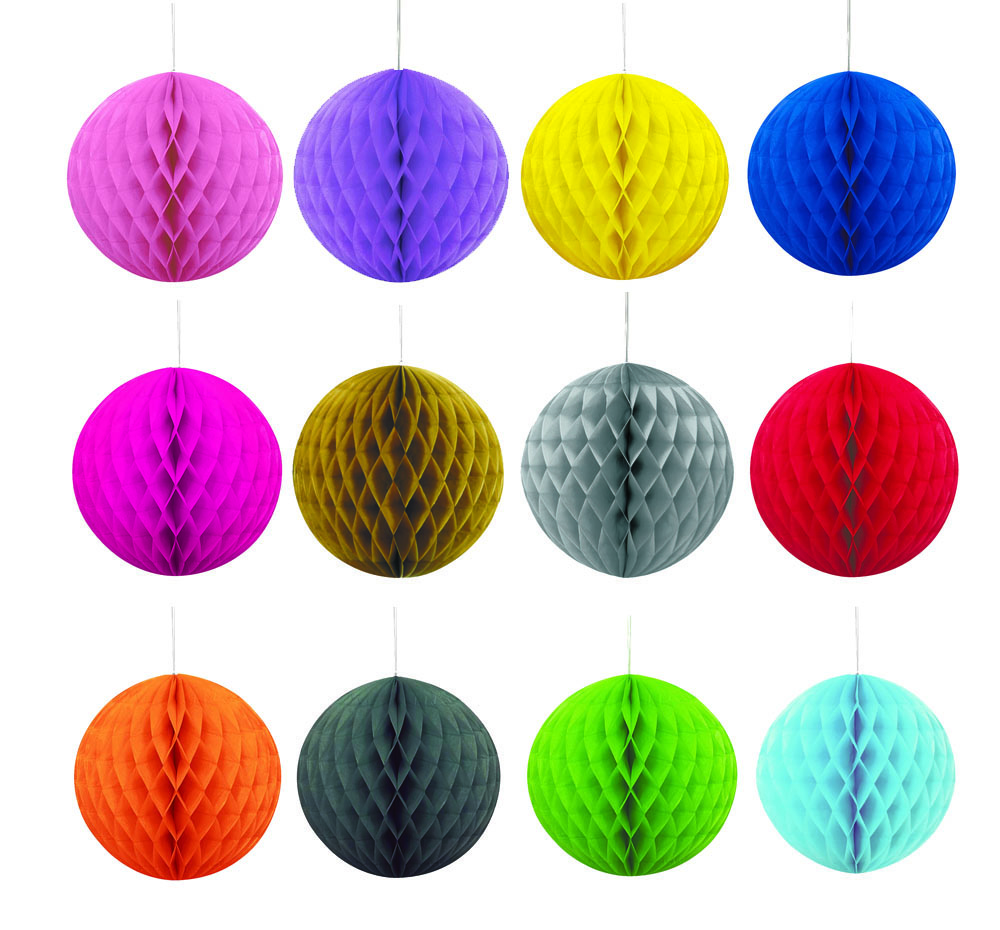 DECORATIVE HONEYCOMB LANTERN BALLS - 13 COLOURS TO CHOOSE FROM