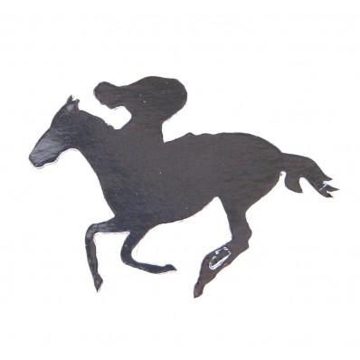 FOILBOARD SILVER RACE HORSE & JOCKEY LARGE CUT OUTS - PACK OF 12