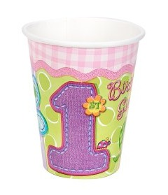 1ST BIRTHDAY PARTY HUGS AND STITCHES CUPS GIRL