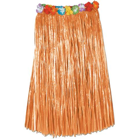 HAWAIIAN HULA PLAIN SKIRT WITH FLOWERED WAIST PACK OF 12 SPECIAL