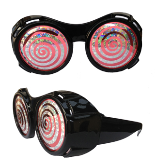 HYPNOTISING GOGGLE GLASSES WITH SILVER SWIRL LENSES