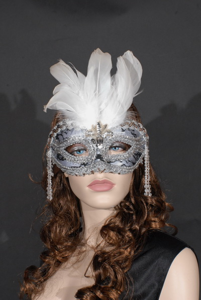 MASK - FEATHERED SILVER WITH BLACK & WHITE LACE