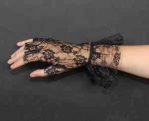 BLACK FLOWER LACE FINGERLESS GLOVES