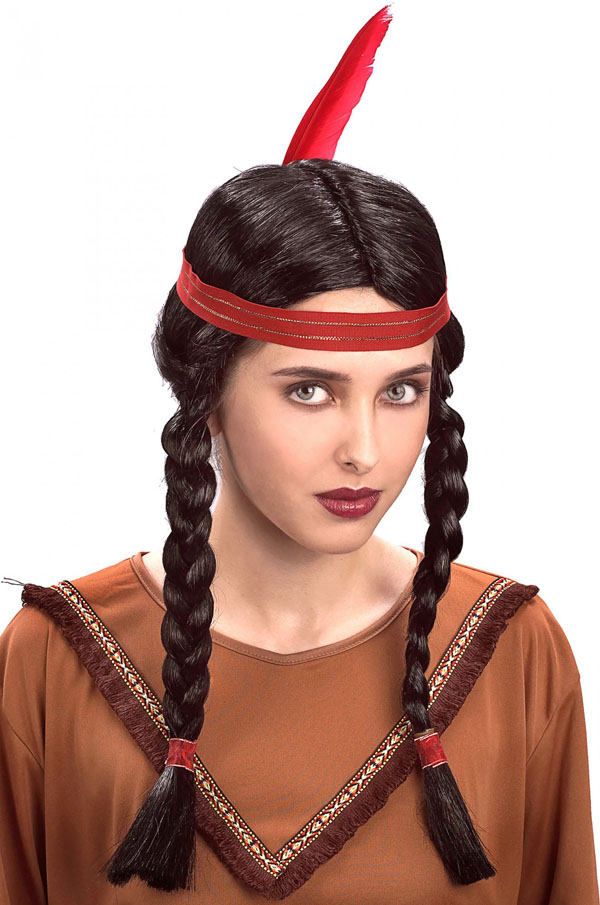 INDIAN GIRL/BOY LONG PLAIT & FEATHER UNISEX WIG