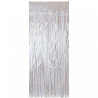 METALLIC FOIL CURTAIN - IRIDESCENT WHITE