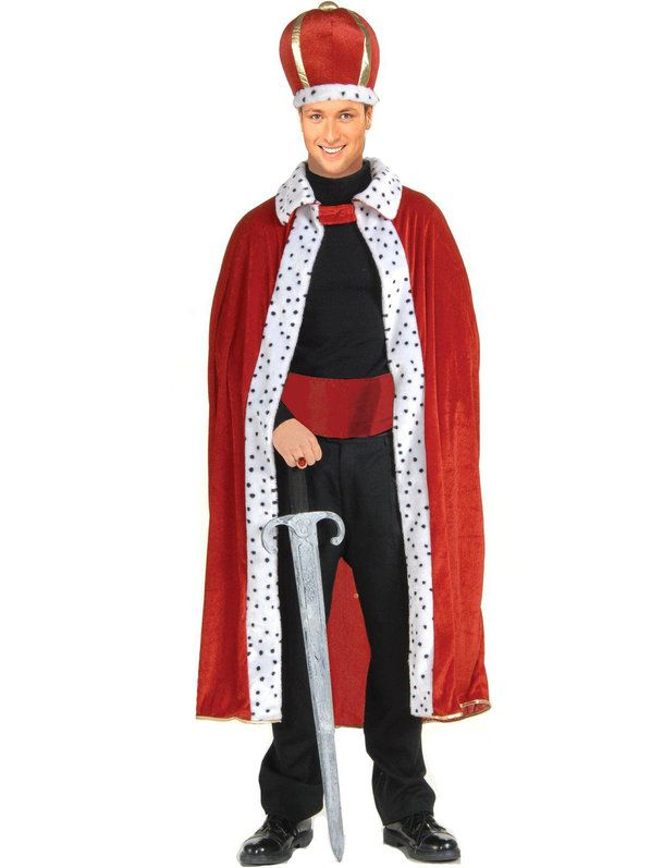 KINGS RICH RED ROBE WITH SNOW LEOPARD COLLAR
