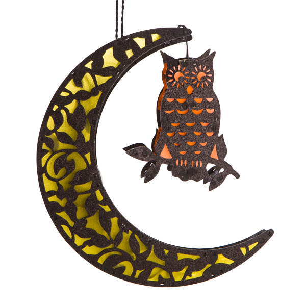LED MOON WITH OWL DECORATION