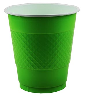 DISPOSABLE CUPS TWO TONE KIWI LIME GREEN - PACK OF 20