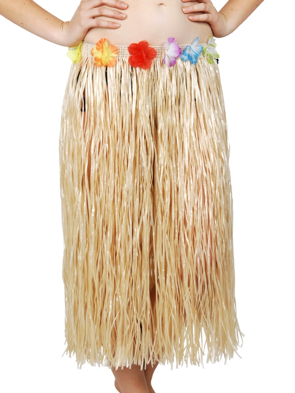 HAWAIIAN HULA SKIRT LONG - NATURAL WITH FLOWERED WAIST