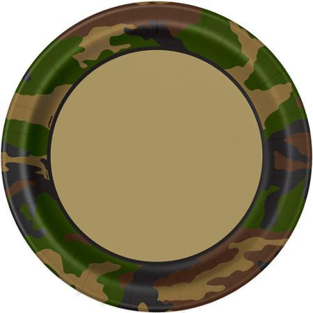 MILITARY CAMO DINNER PLATES - PACK OF 8